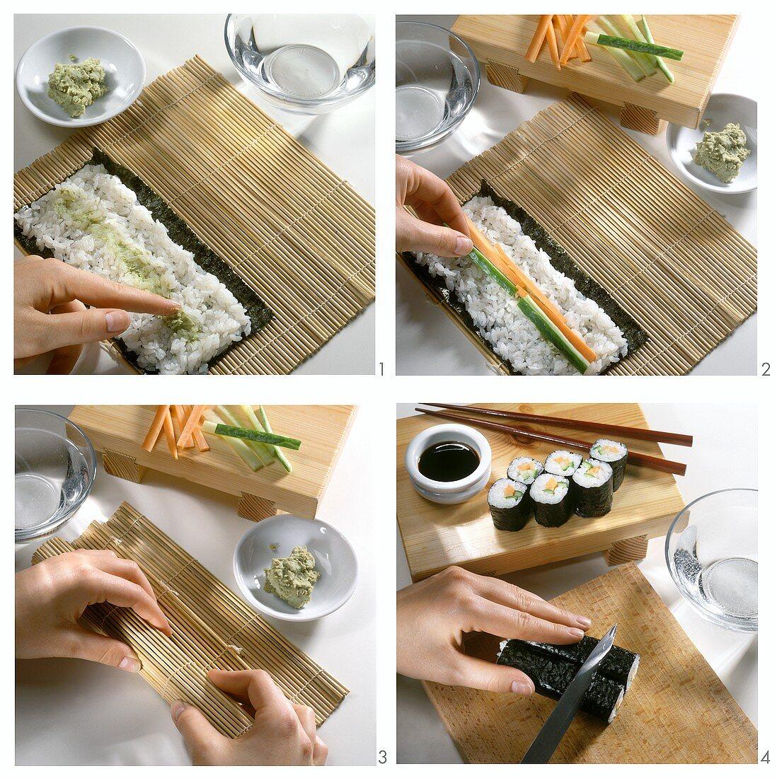 Preparing maki sushi