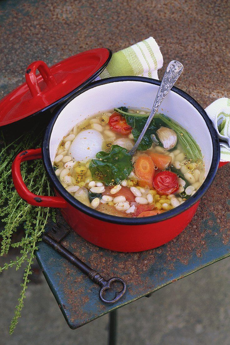 Zuppa di fagioli (Bean and vegetable soup, Italy)