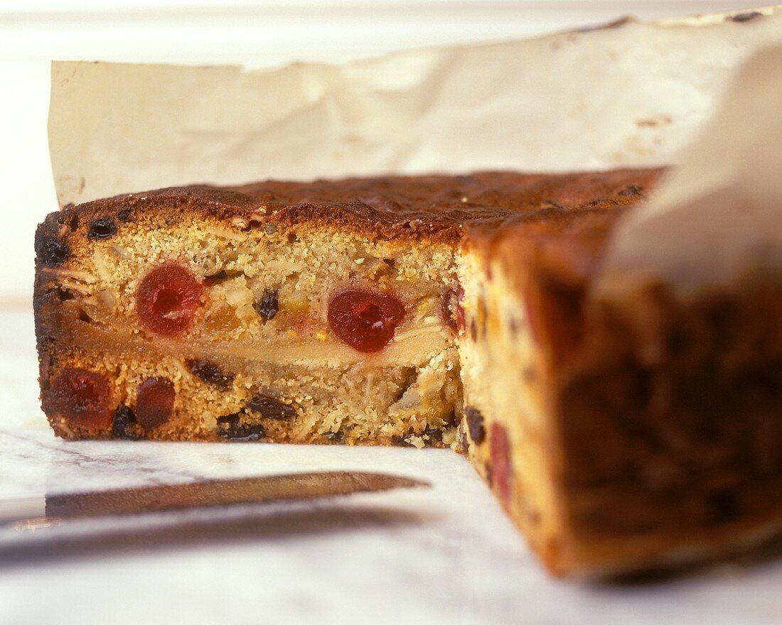 Fruit cake, a piece cut (Simnel cake)