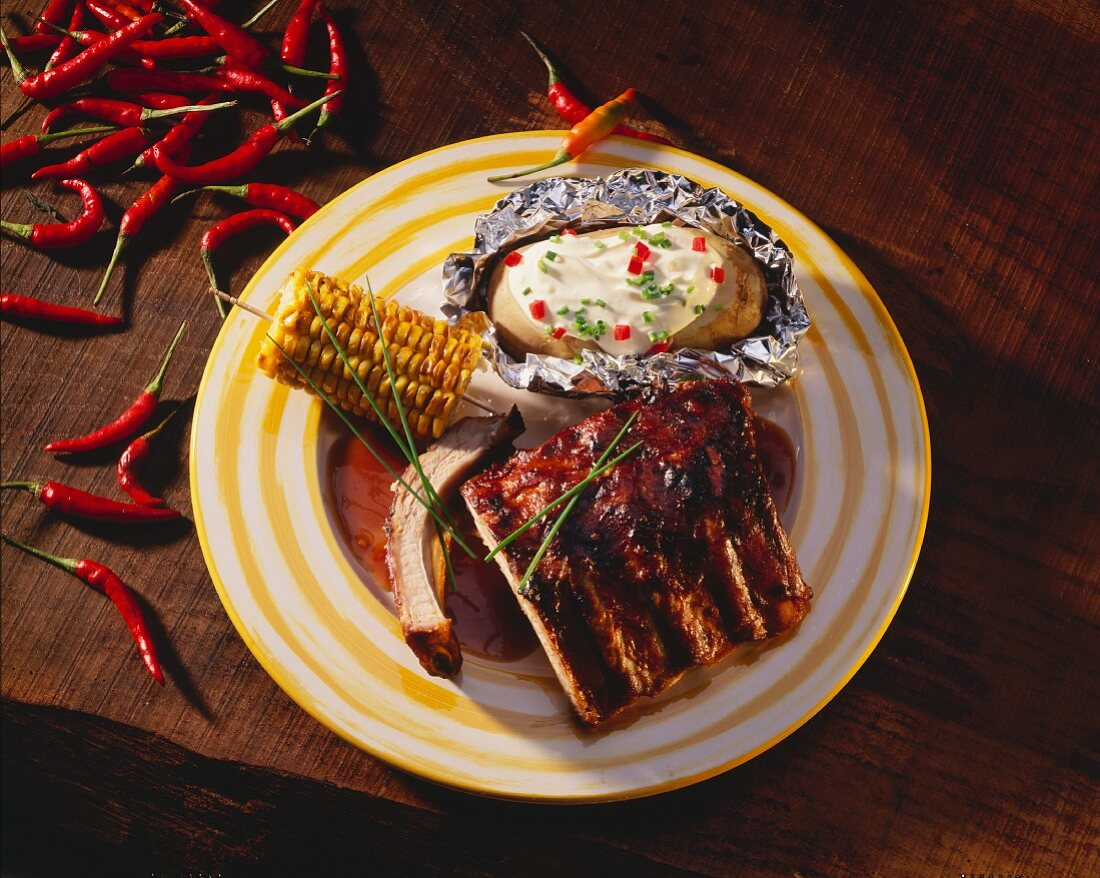 Grilled Spareribs with Corn on the Cob and Baked Potato