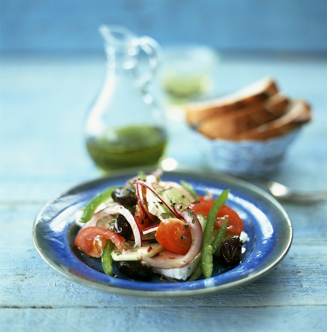 Greek peasant's salad, olive oil, bread