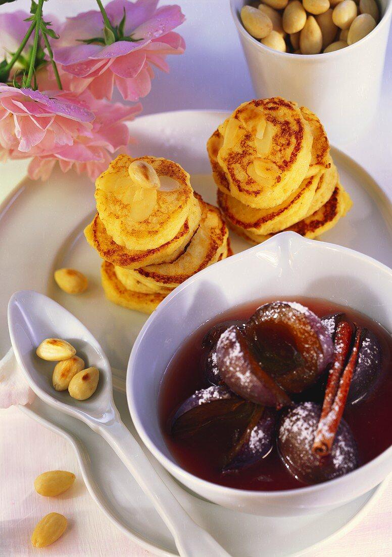 Almond potato cakes with plum compote