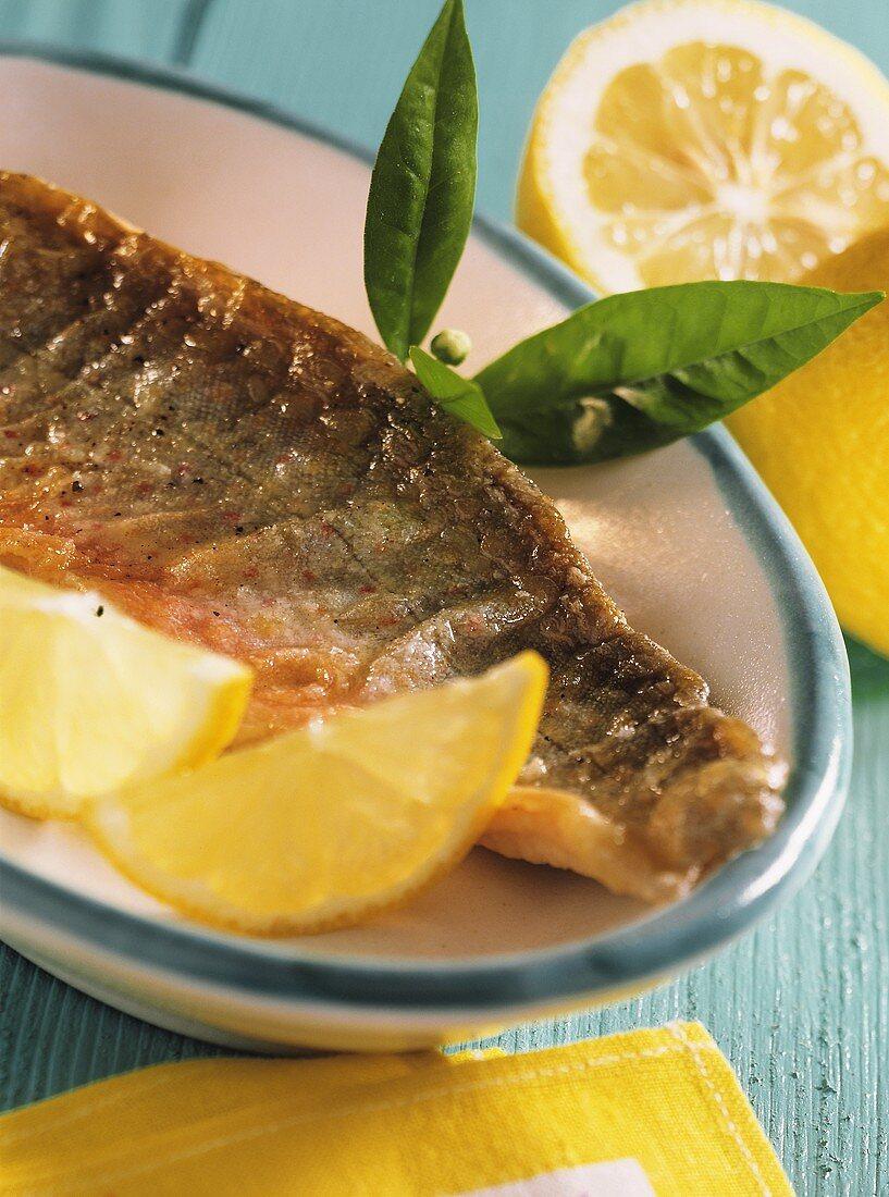 Fried brook trout fillet