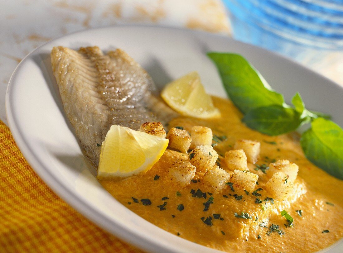 Carp goulash with white bread croutons