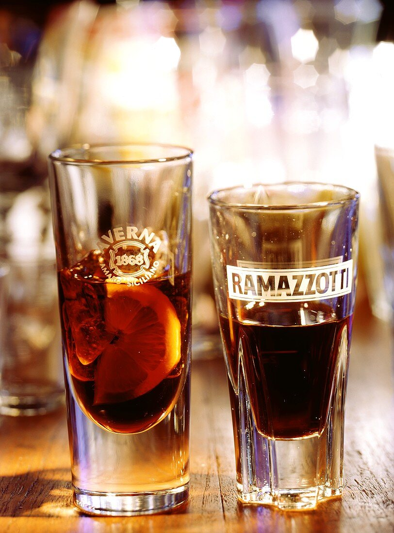 A glass of Averna and a glass of Ramazzotti