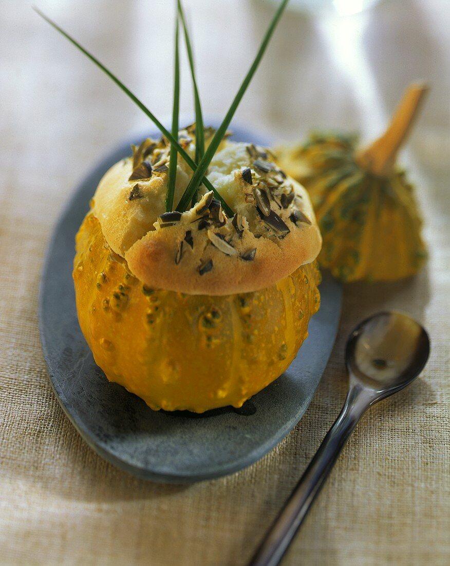 Pumpkin souffle with Appenzeller cheese