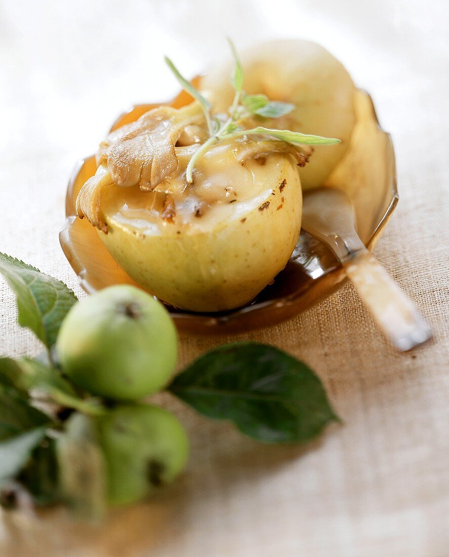 Apple with Camembert and mushroom filling