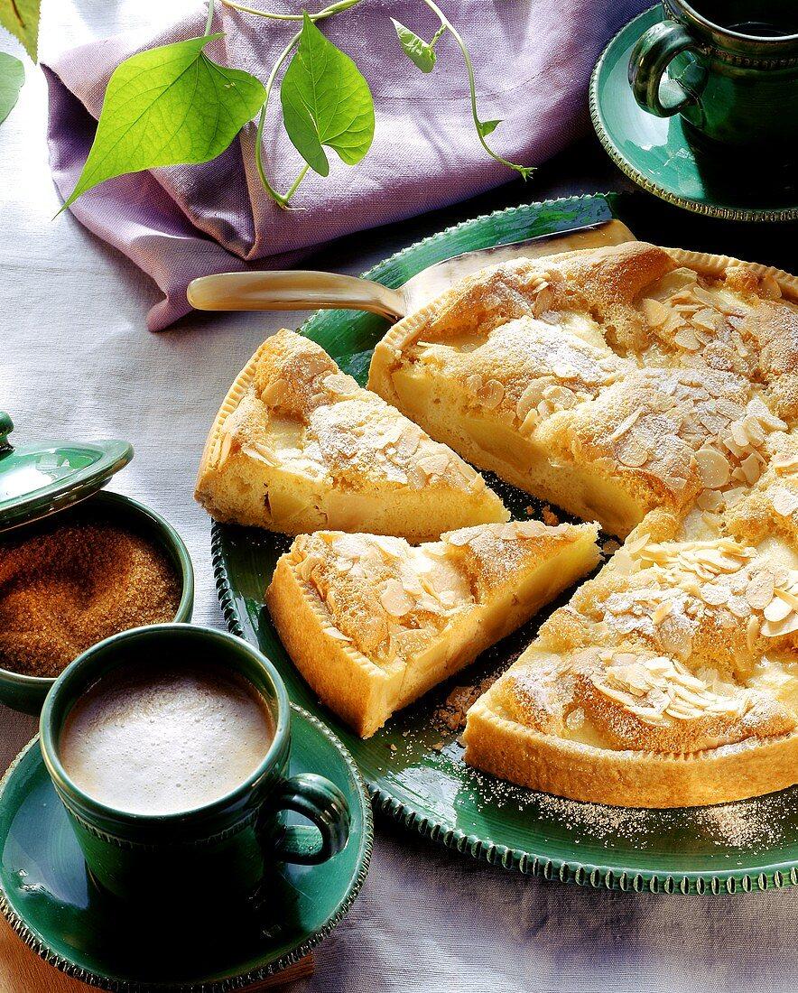 Apple souffle tart, pieces cut