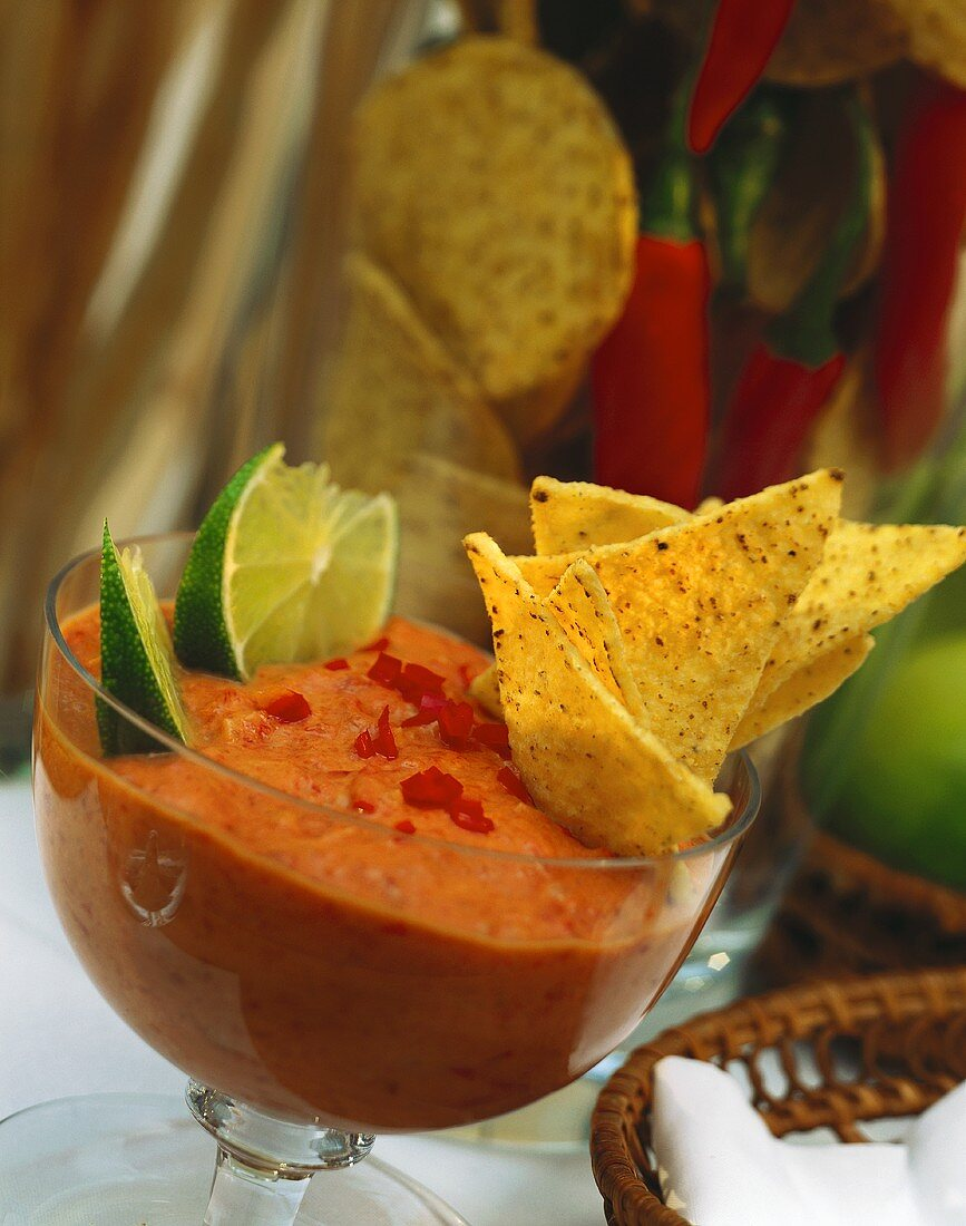 Mexican dip with red chili pepper