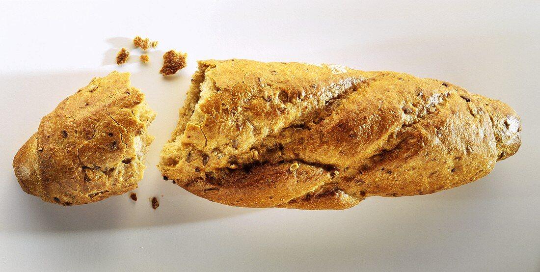 A broken grain baguette