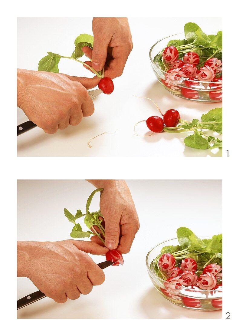 Carving radish flowers