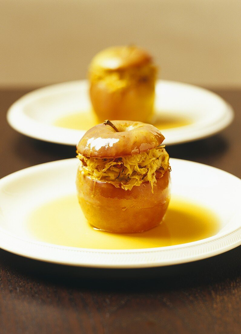 Baked apple with sauerkraut and bacon filling