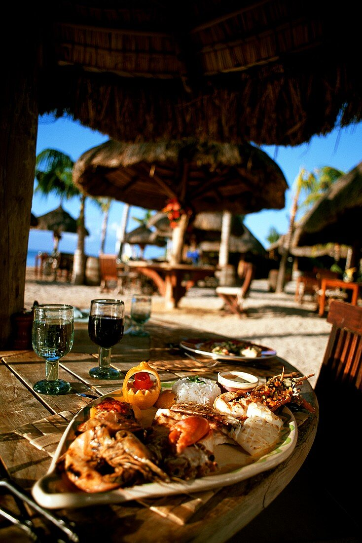 Plate of Assorted Grilled Seafood at a Strand Bar in Mauritius
