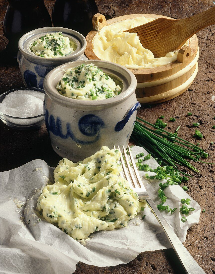Chive butter on paper and in bowl