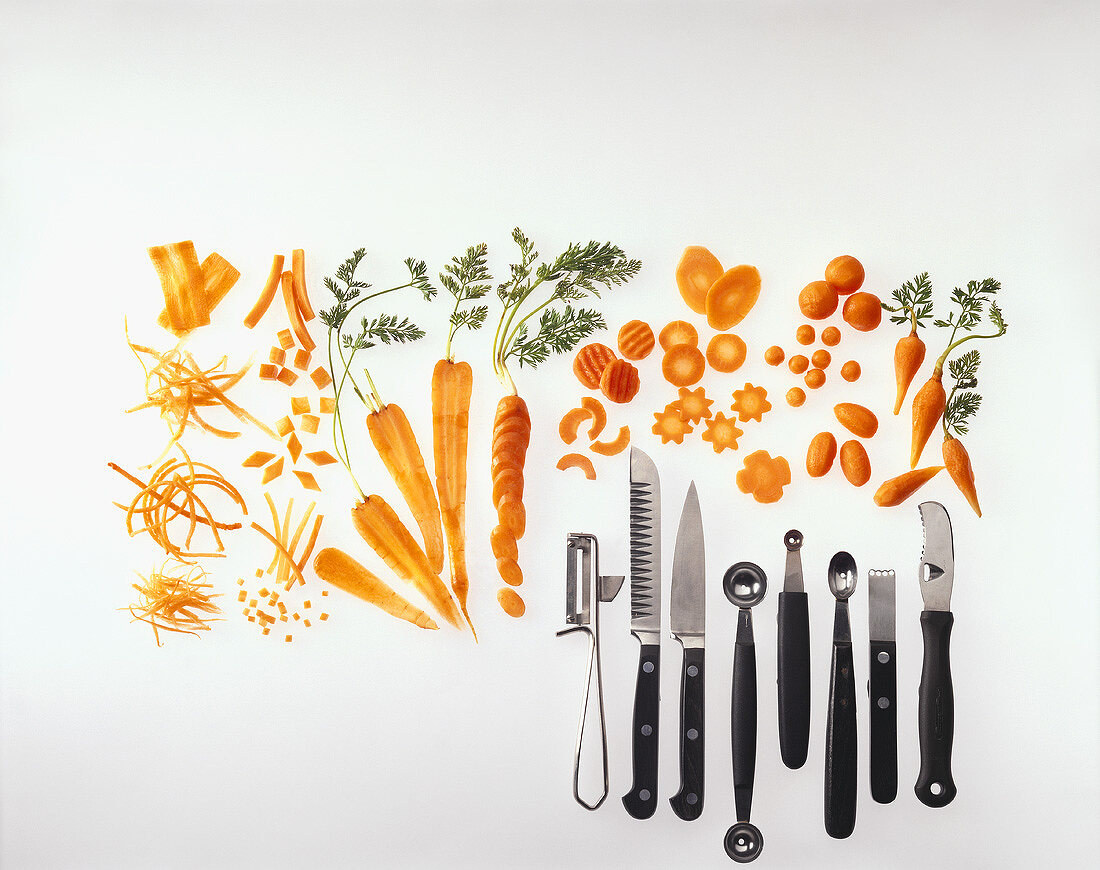 Several Different Garnish Utensils with Various Carrot Garnishes