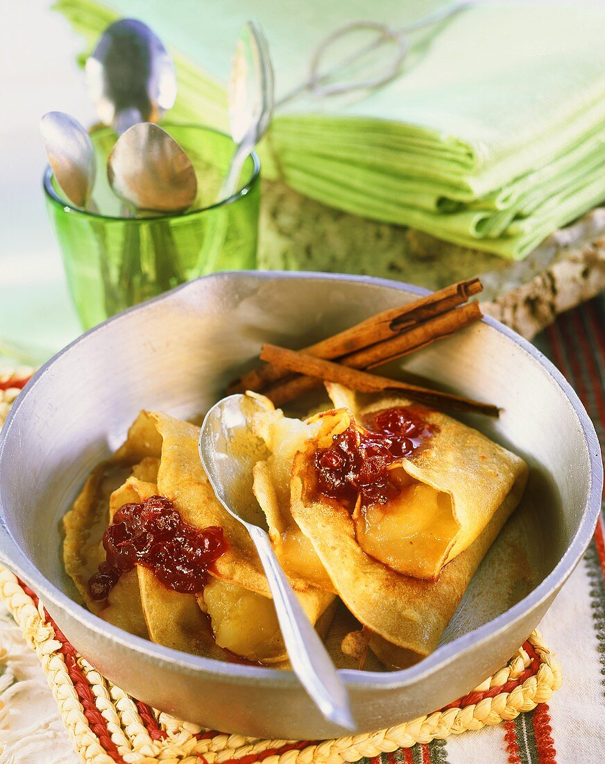 Quinoa crepes with apple filling and cranberry jam