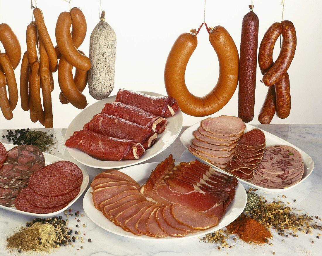 Sausage platters and various sausages