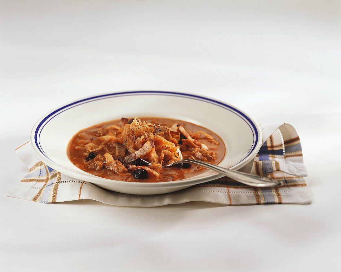 Kapustnica (sauerkraut soup, Slovakia)