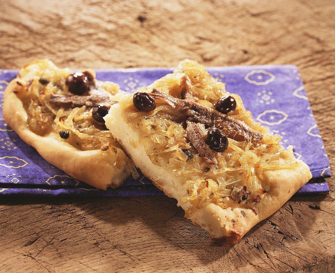 Pissaladière niçoise (onion and anchovy tart, Nice)