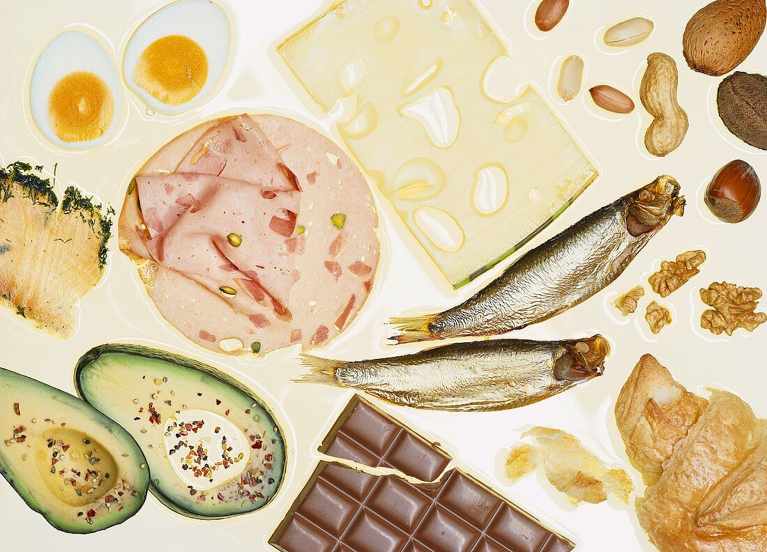 Still life with foods high in fat