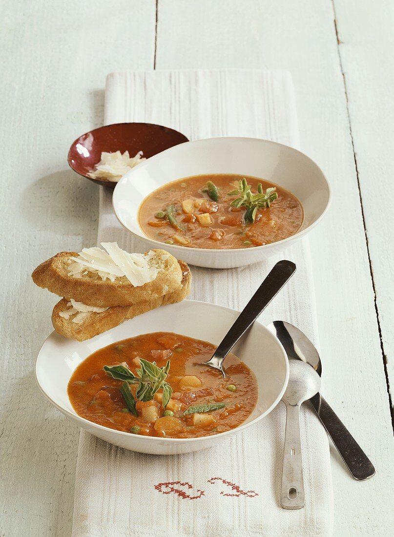 Pappa al pomodoro alla lucchese (tomato stew with peas)