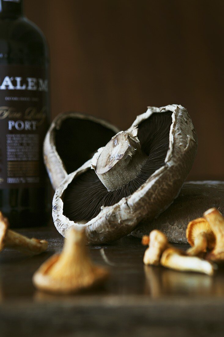 Various types of mushrooms in front of port wine bottle