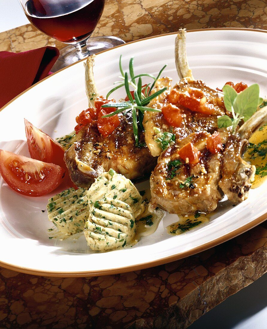 Grilled lamb cutlets with herb butter