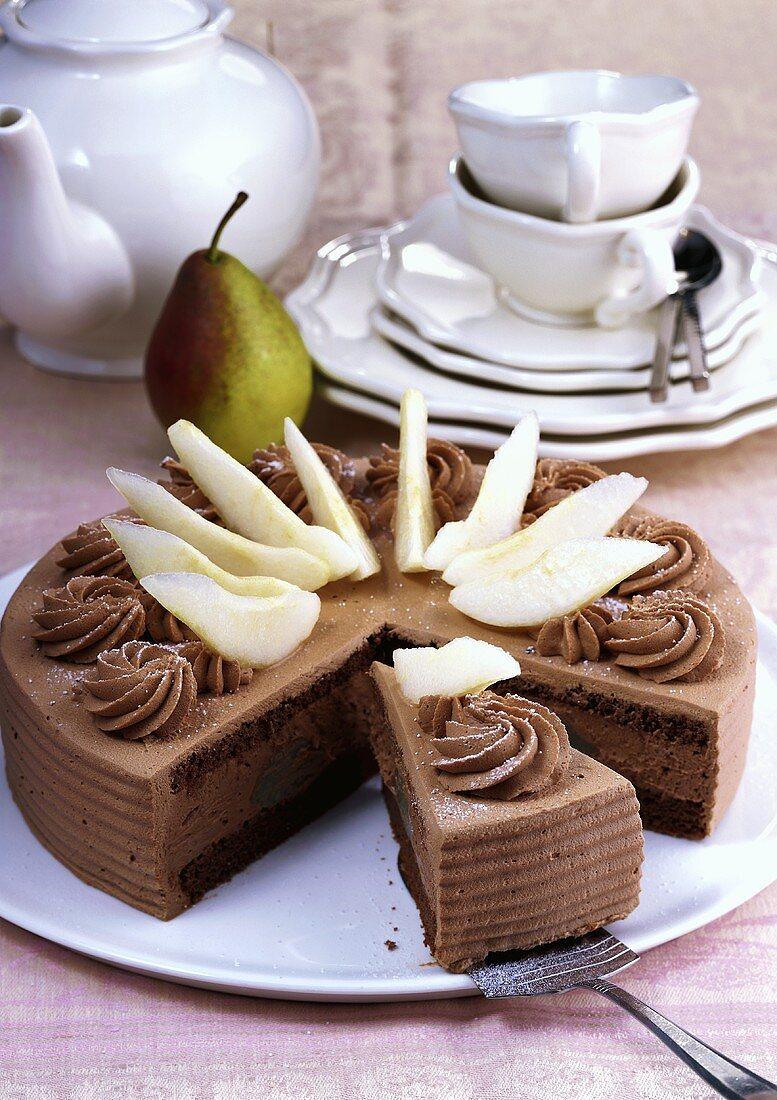Chocolate pear gateau