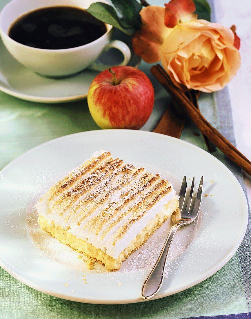 Cinnamon apple slice, cup of coffee