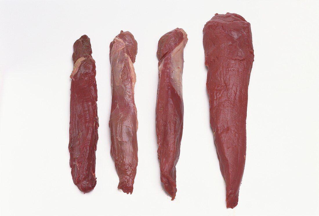 Venison fillets (stag & roe-deer), wild boar fillet, hare fillet