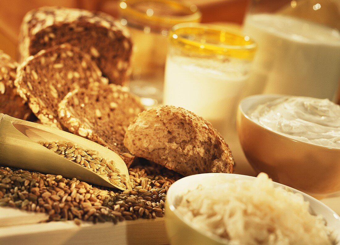 Wholemeal bread, cereals, sauerkraut and dairy products