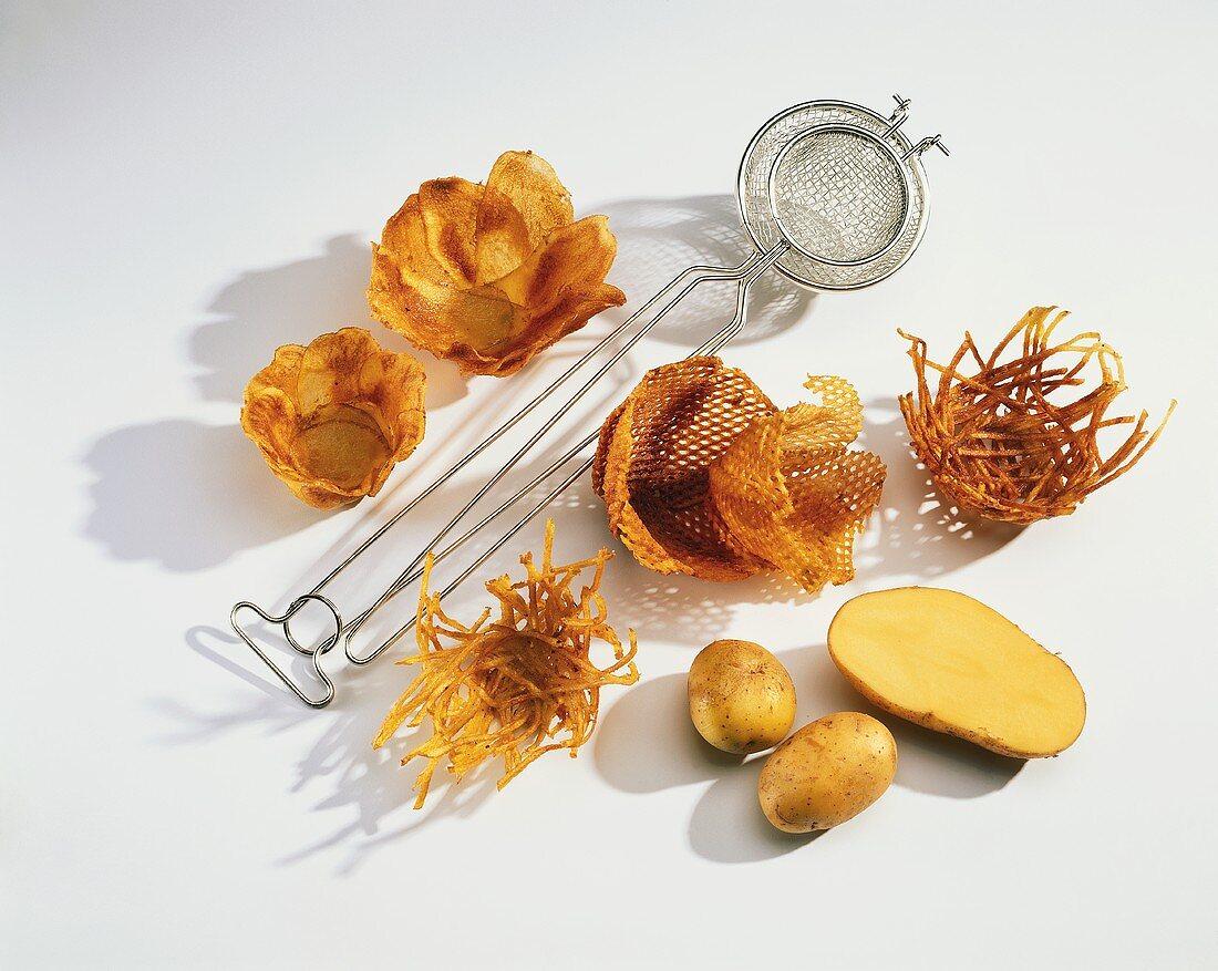 Deep-fried potato nests and fresh potatoes