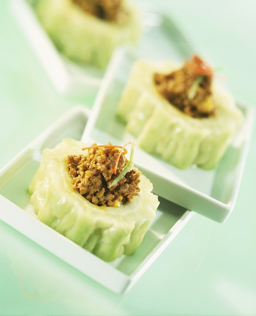 Bitter gourds stuffed with minced pork