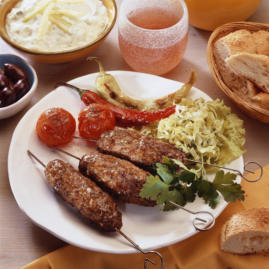 Cevapcici with cabbage salad