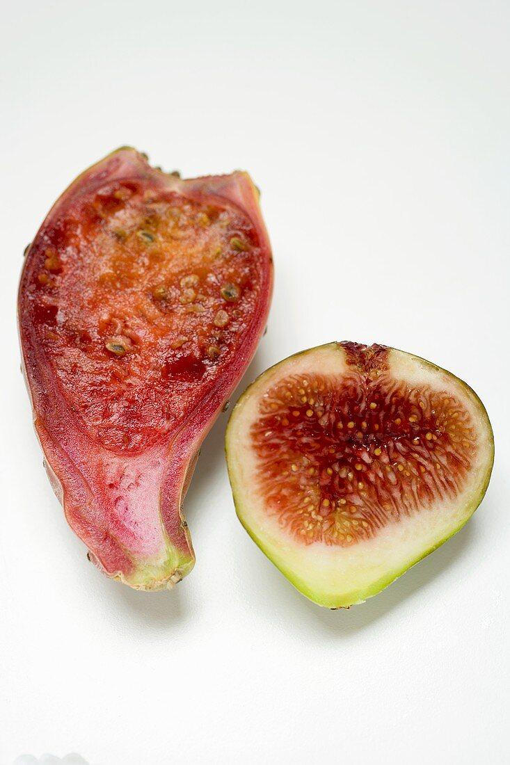 Half a prickly pear and half a fig