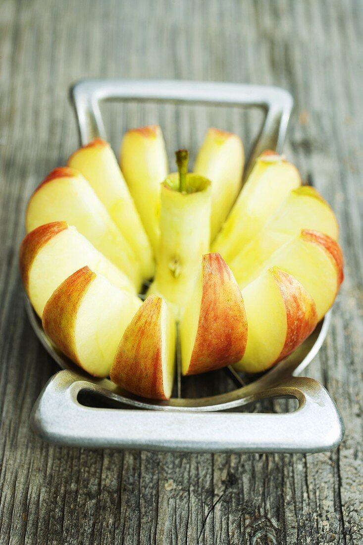 Apple in an apple slicer