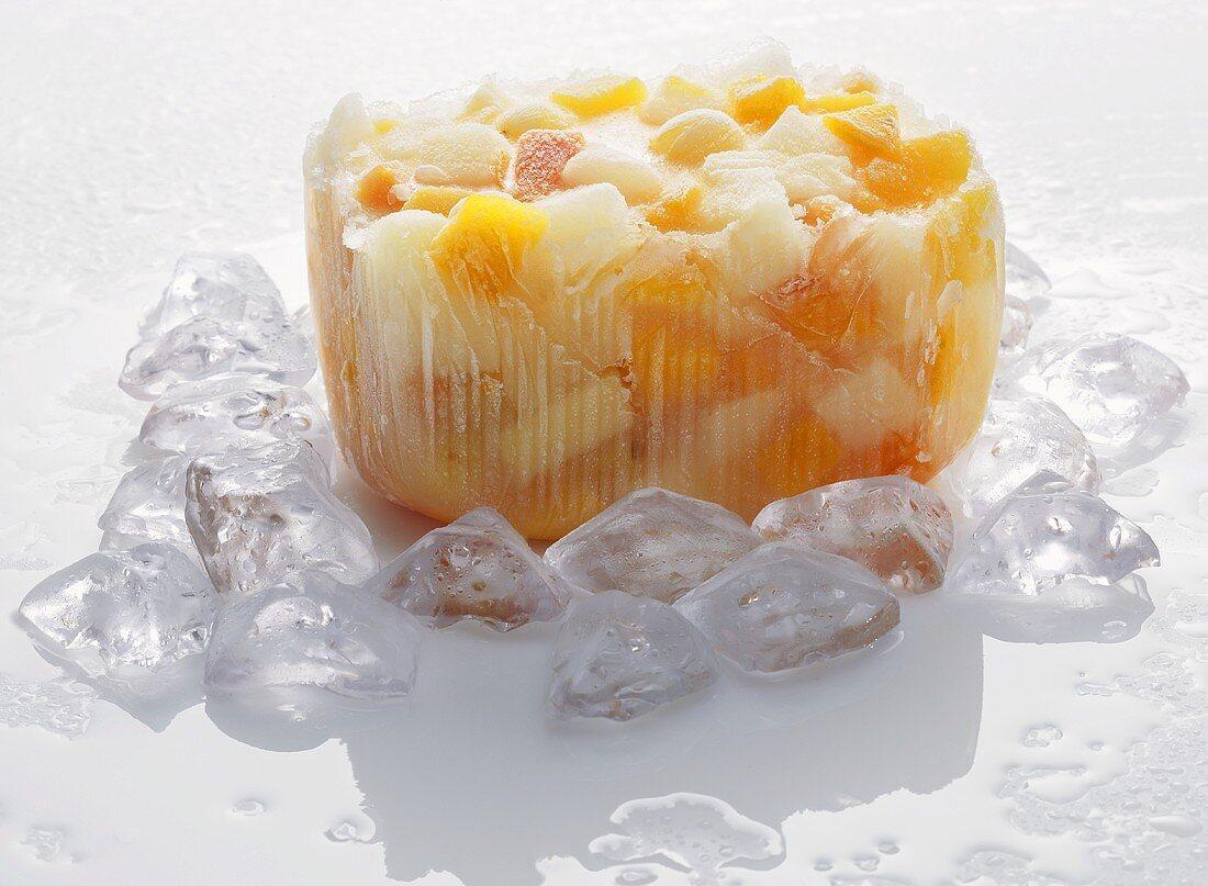 Frozen fruit in block of ice