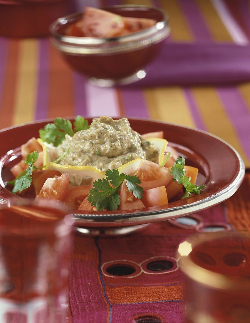Danjlal (aubergine puree from Morocco) with tomatoes