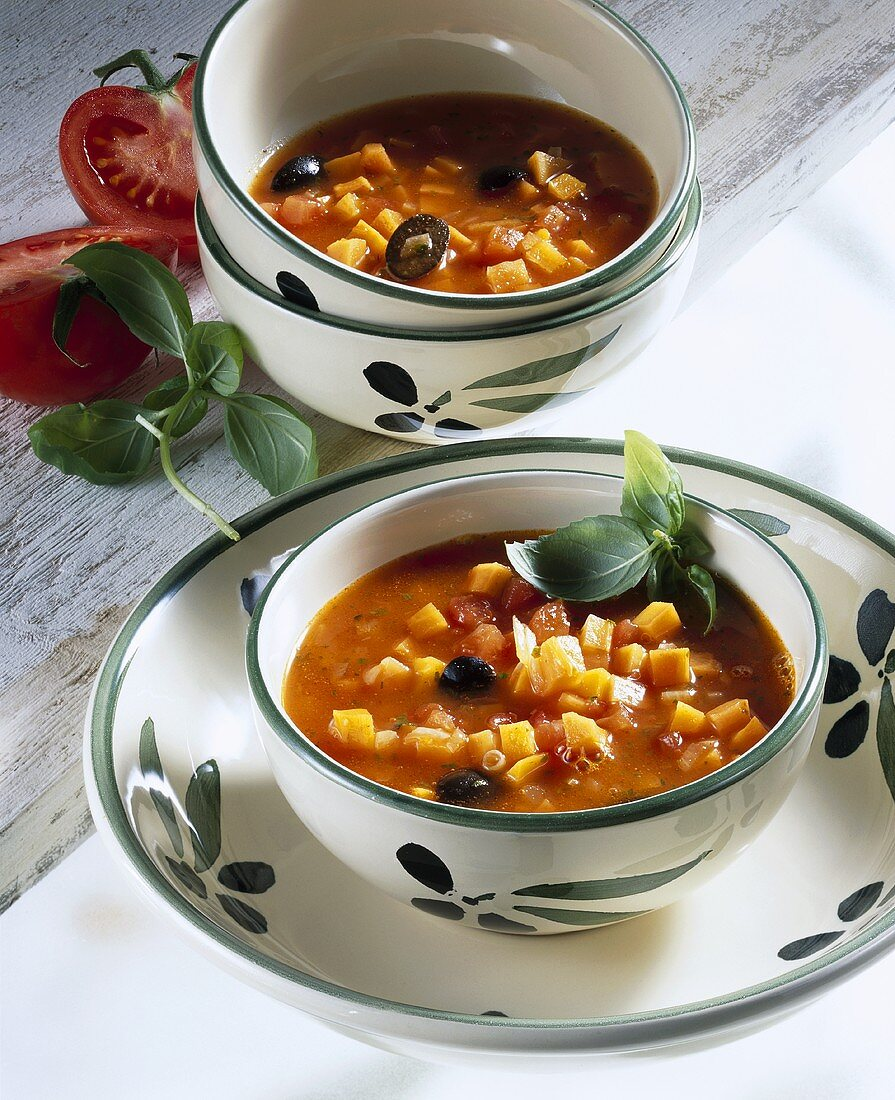 Carrot, orange and tomato soup
