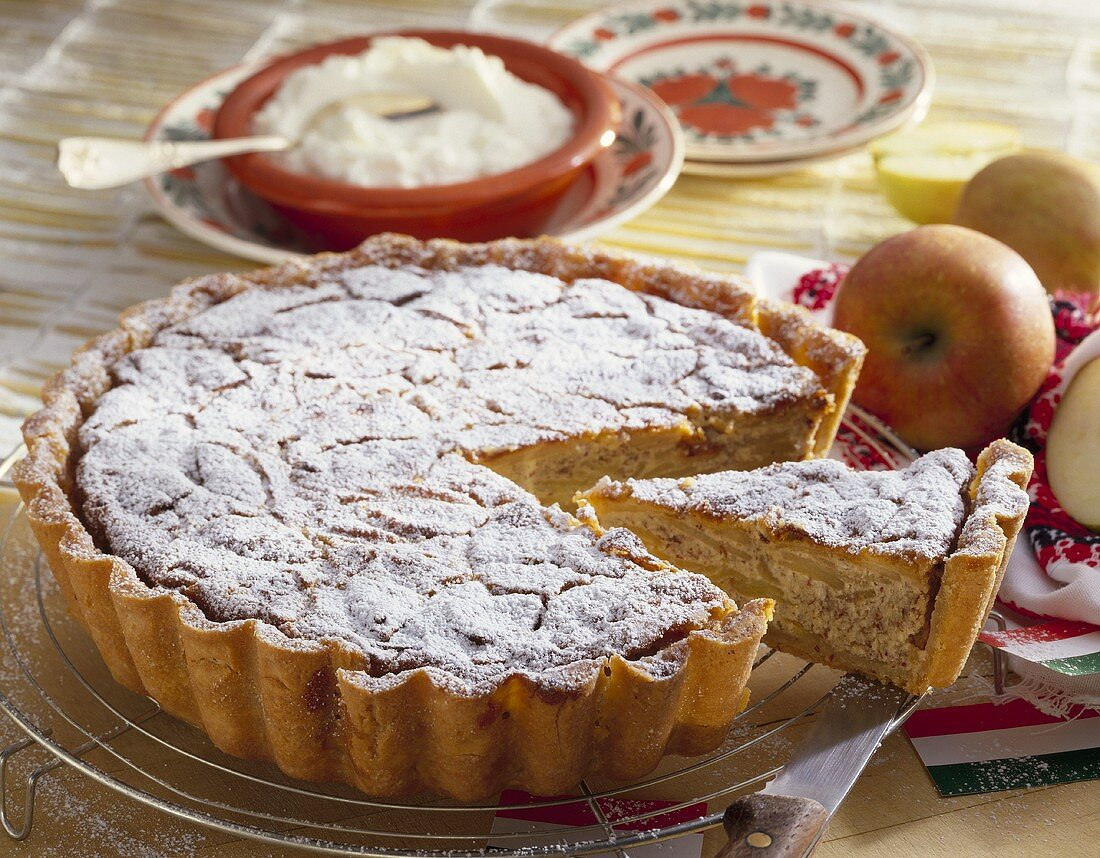 Budapest-style apple cake with almonds (Hungary)