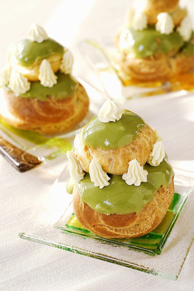 Profiteroles with green tea icing