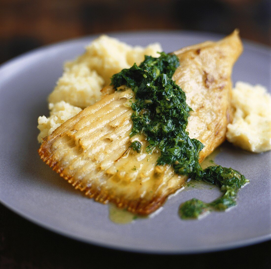 Skate wing with herb and caper sauce