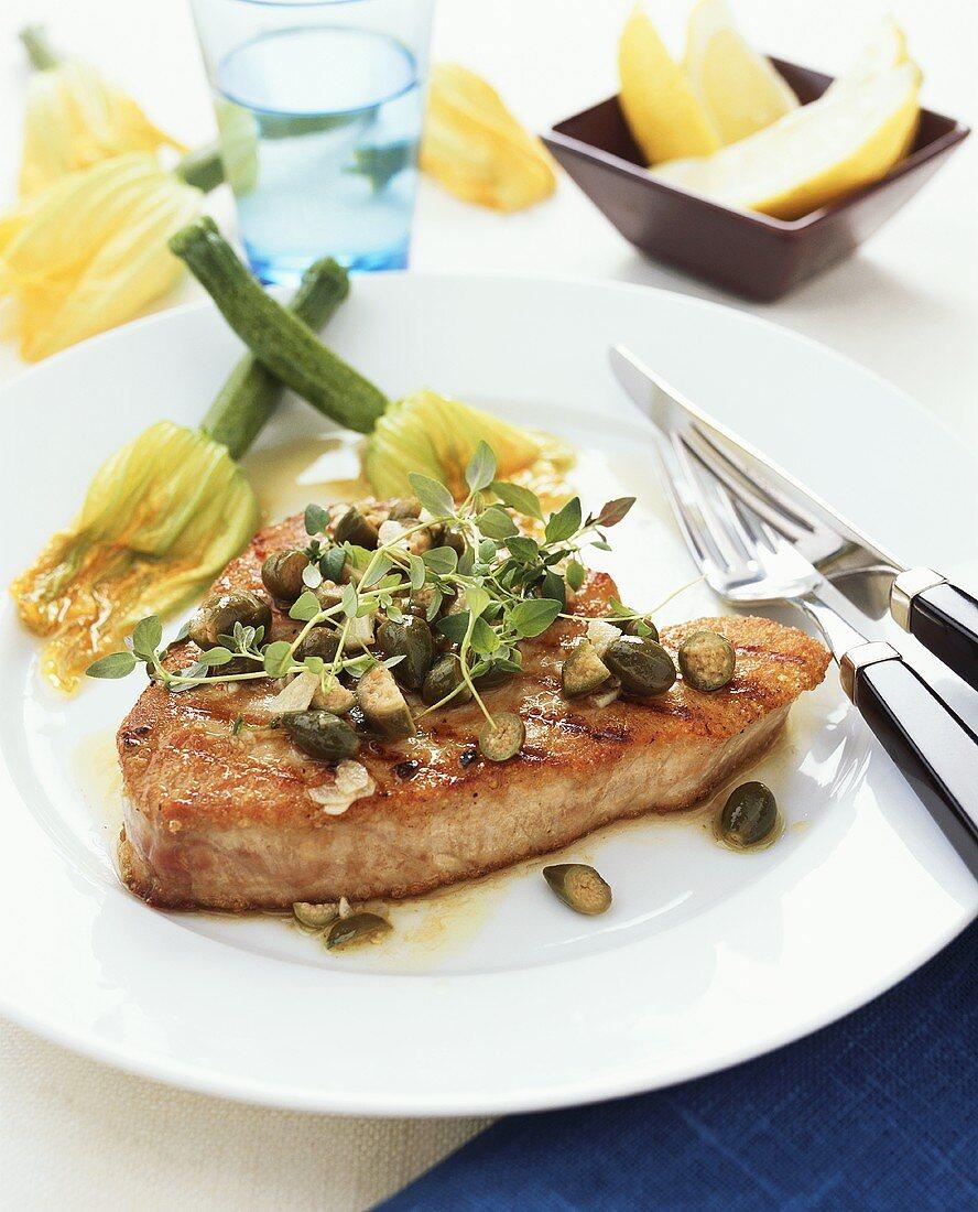 Tonno alla palermitana (Tuna steak with capers, Italy)