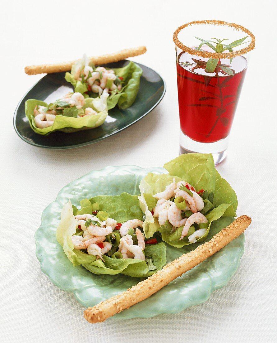 Shrimp salad with raspberry cocktail