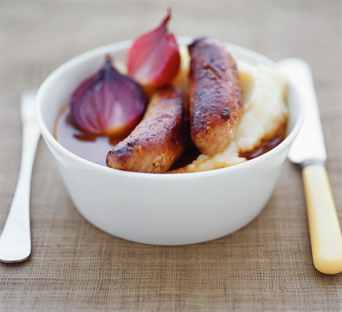 Bangers, mash and onion gravy