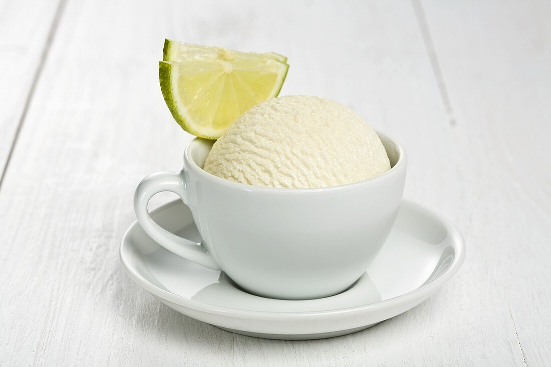 Lime sorbet in espresso cup