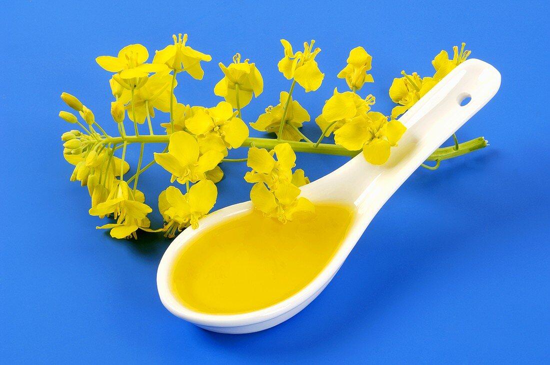 A spoonful of rapeseed oil, oilseed rape flowers beside it