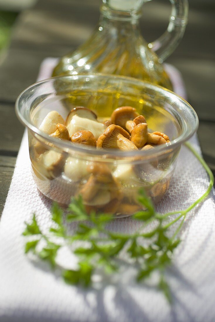Pickled mushrooms in glass dish, parsley, olive oil