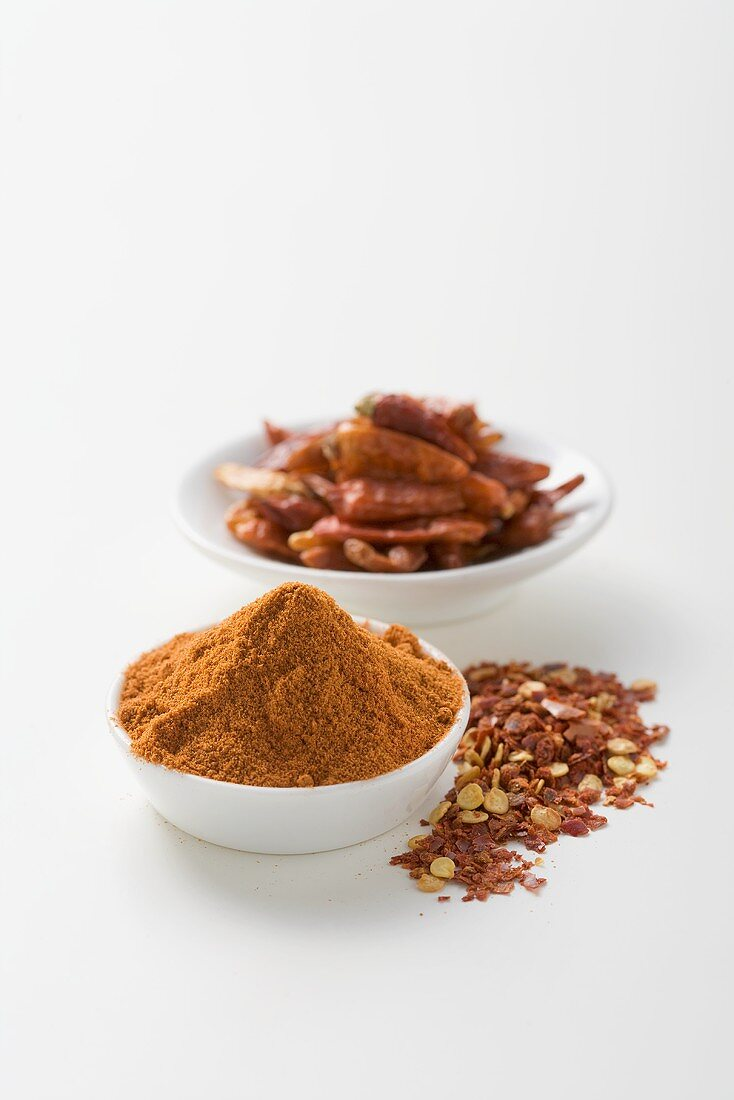 Dried chillies, cayenne pepper and chilli flakes