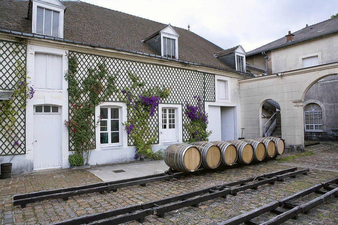 Barrels of Bolligner in the village of Ay in the Marne department, Champagne, France